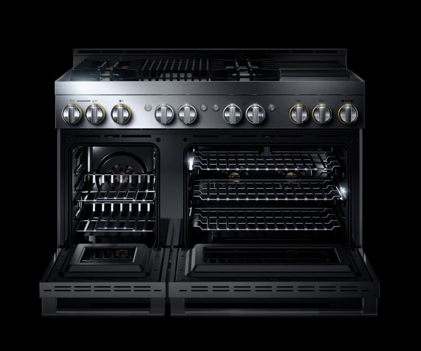 An open JennAir® 48-inch professional-style range in the RISE™ design expression.