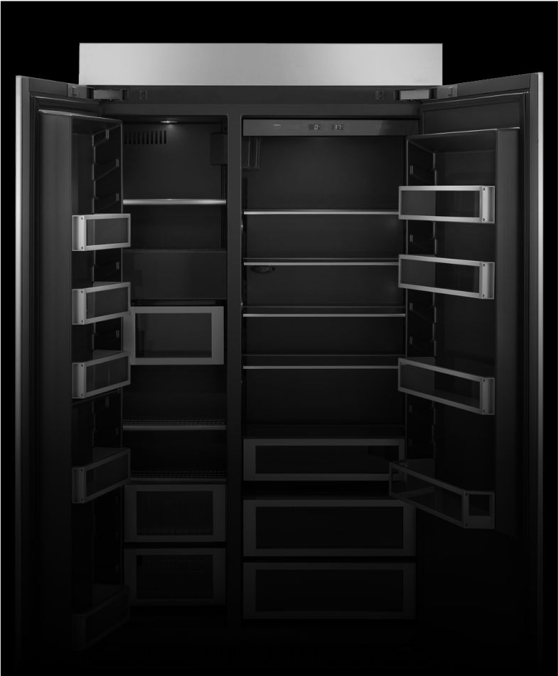 An open JennAir[®] high-end built-in refrigerator.