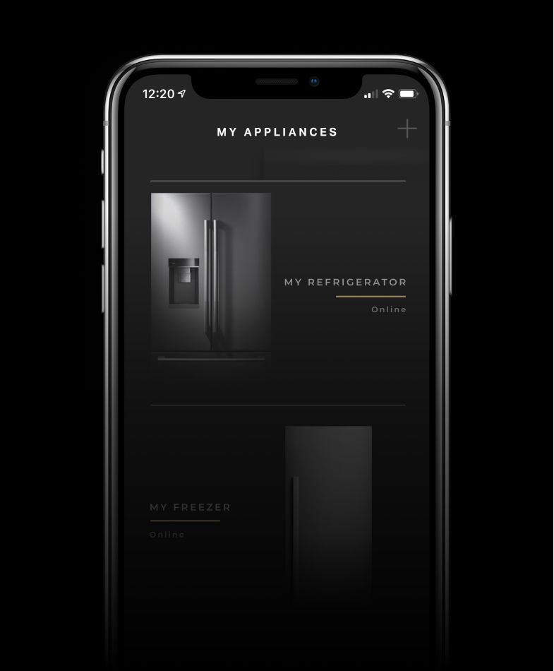 A JennAir[®] freestanding refrigerator shown on the app.