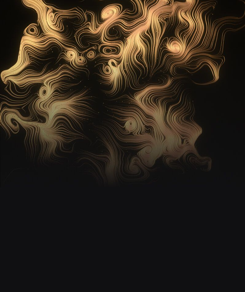 Golden spirals and whorls on a black background.
