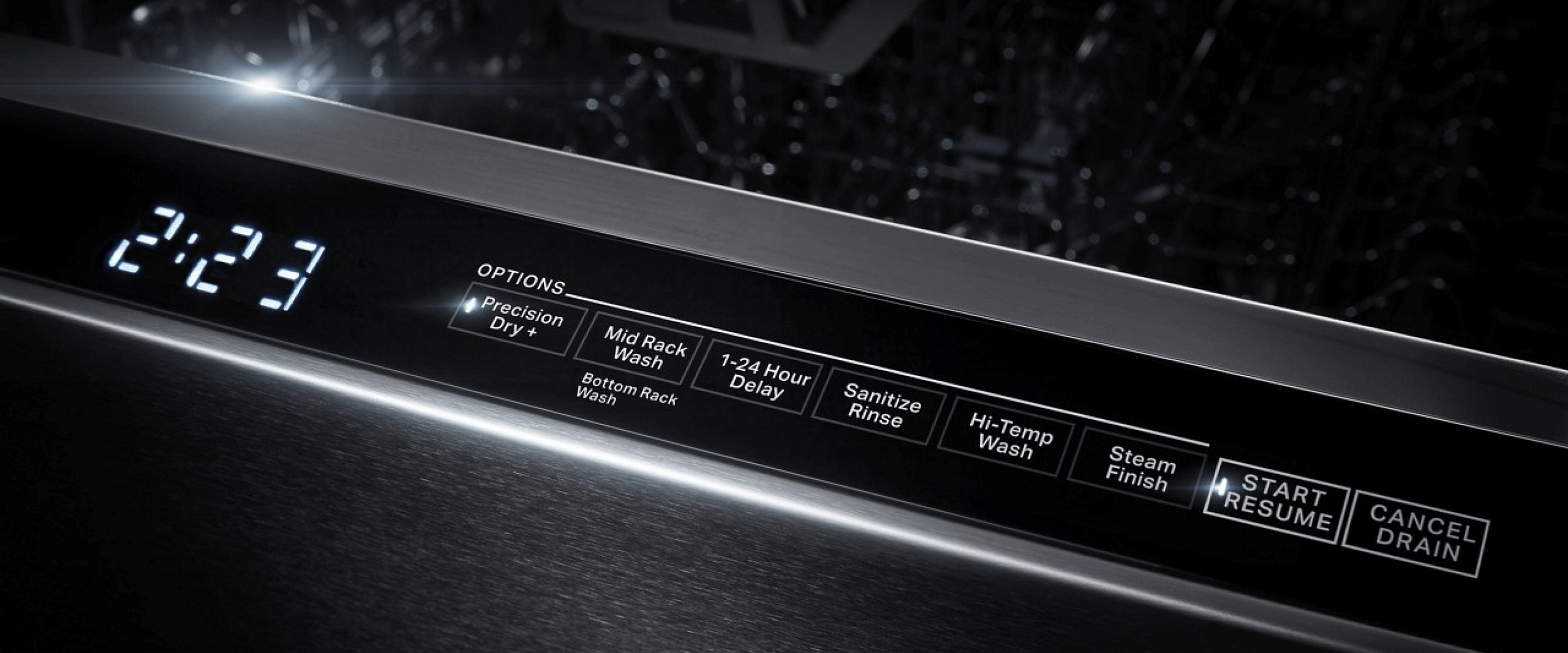 The console of a JennAir® dishwasher.