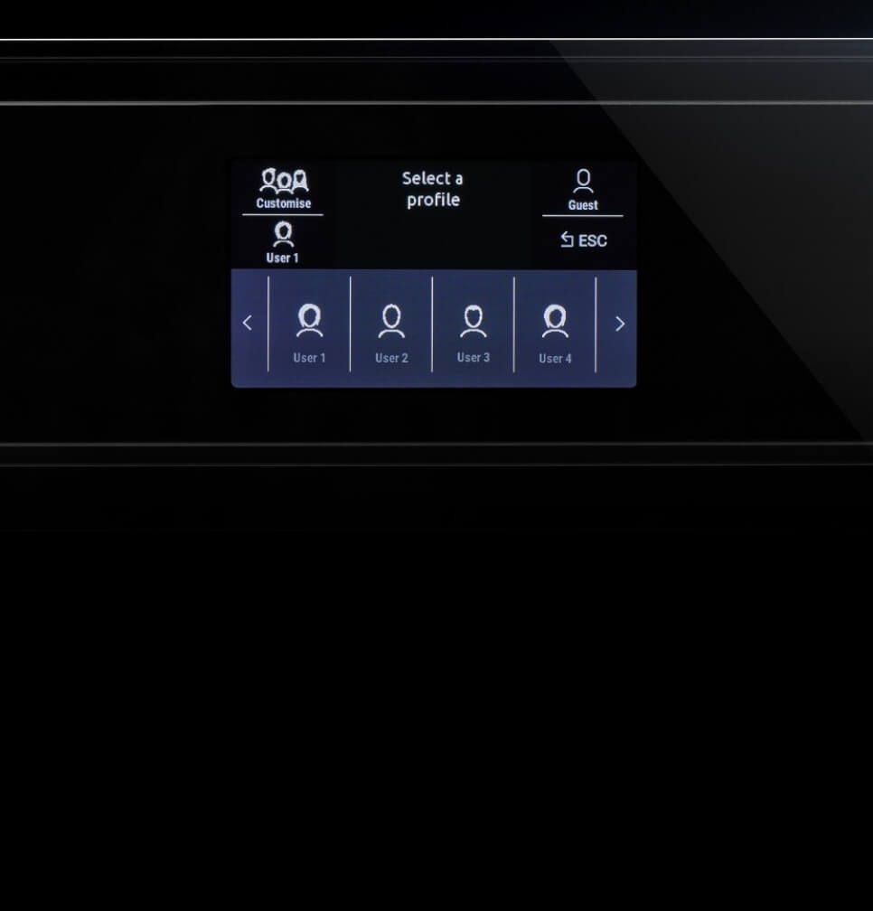 A shot of the profiles available on the built-in coffee maker.