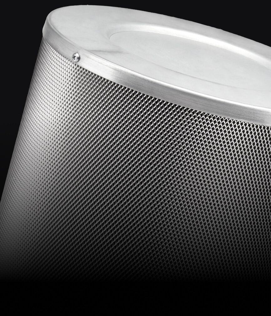 A dishwasher-safe baffle filter.