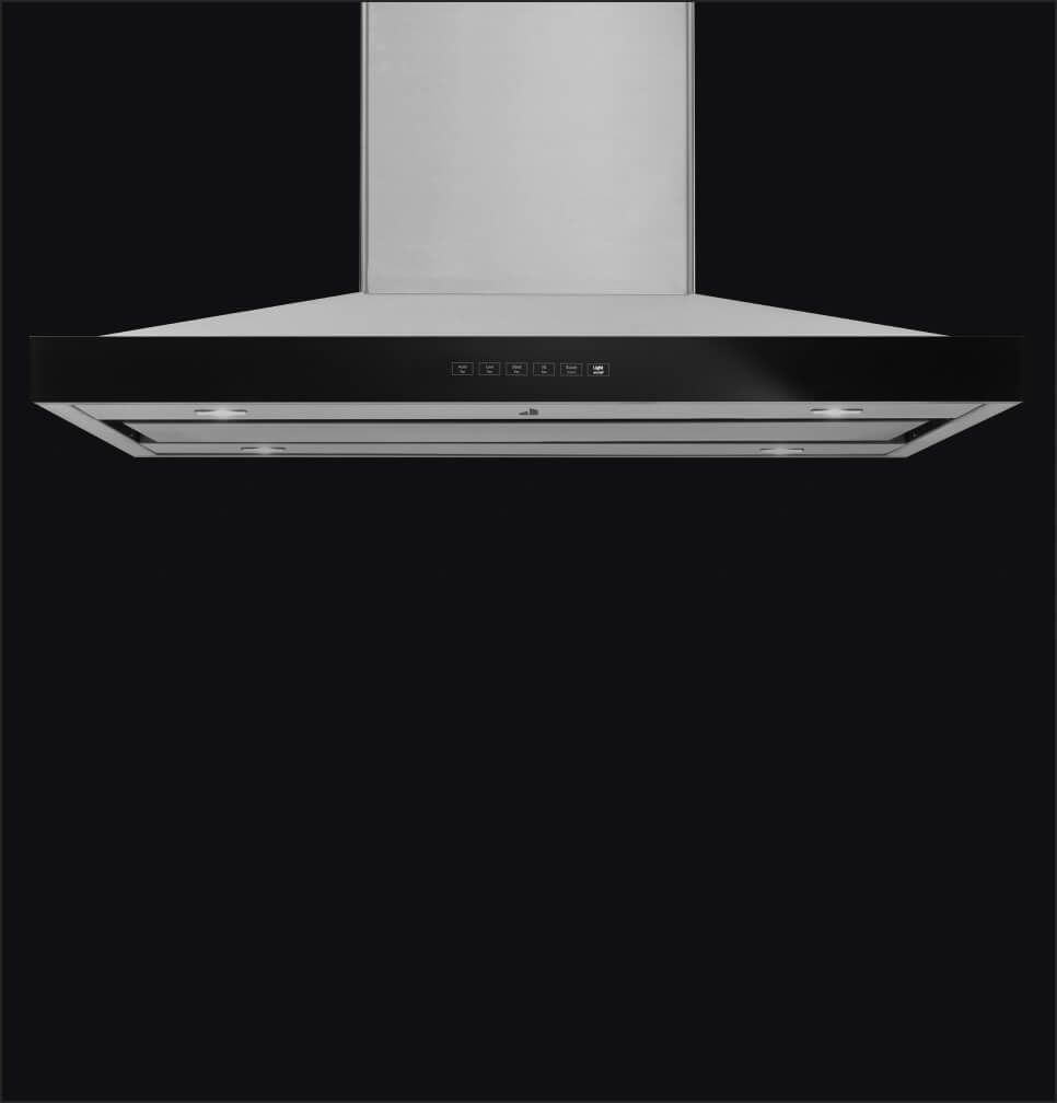 A pyramid-style wall mount hood with perimetric ventilation.