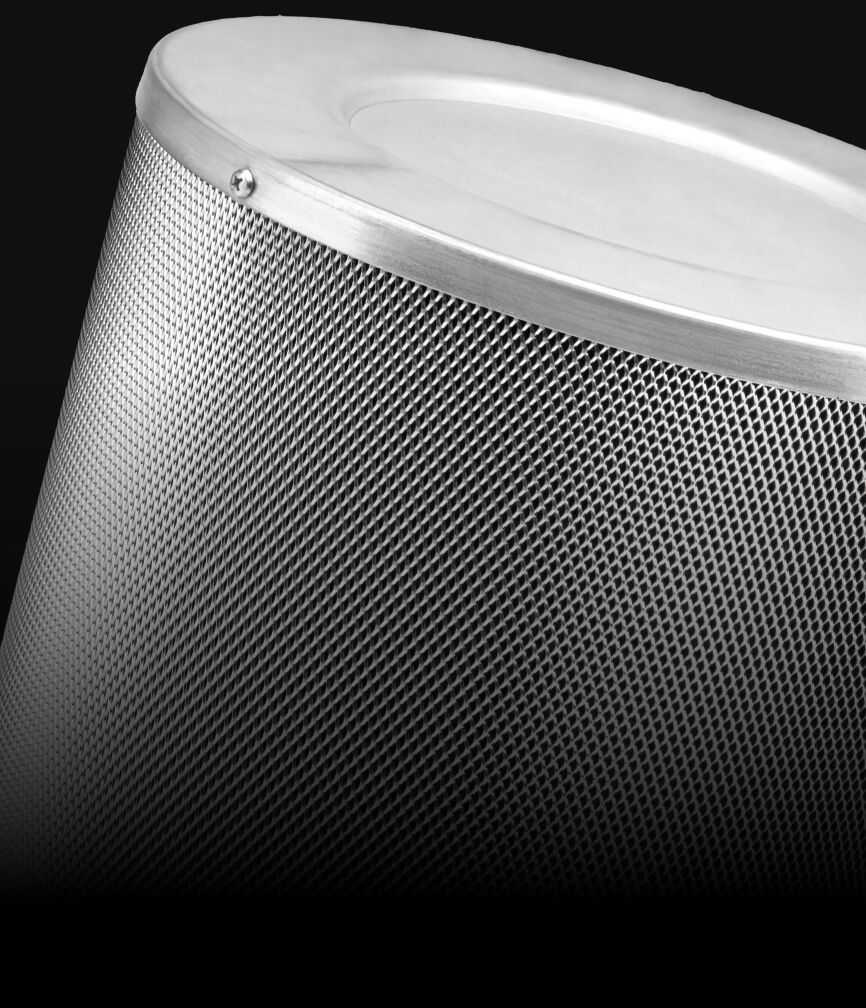 A stainless steel baffle filter.