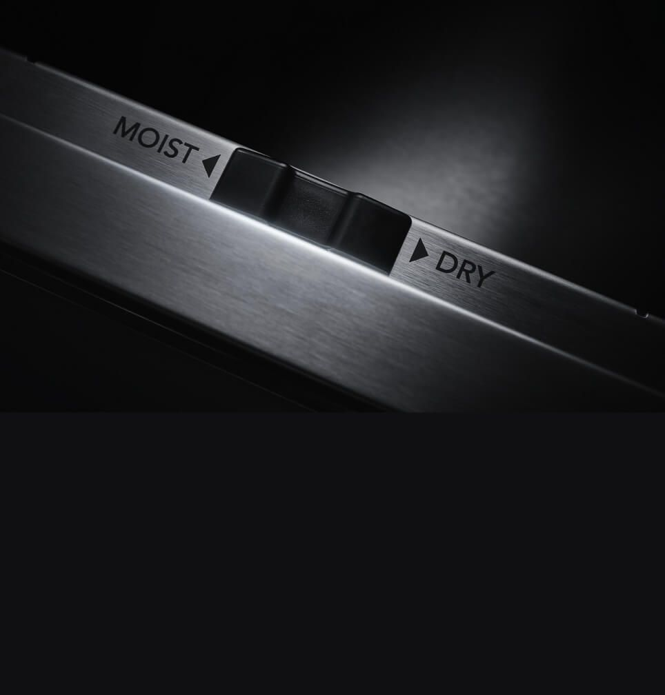The humidity slide control in a JennAir® warming drawer.