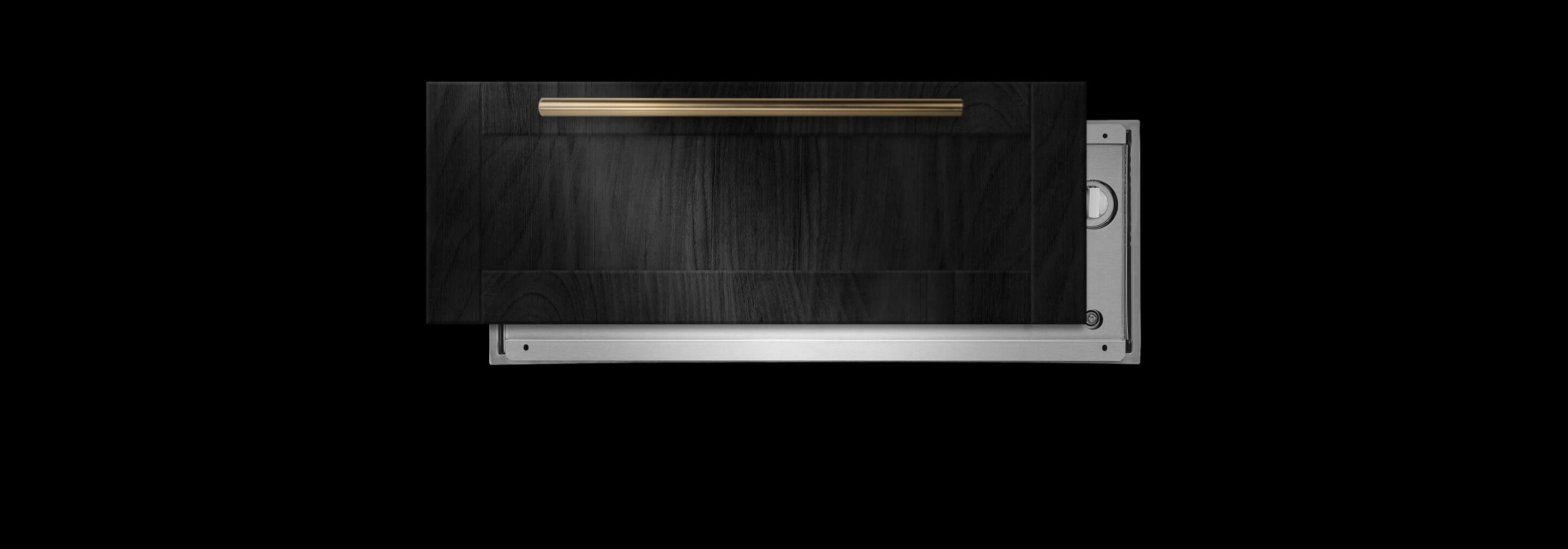 A JennAir® warming drawer with an offset black wooden panel.
