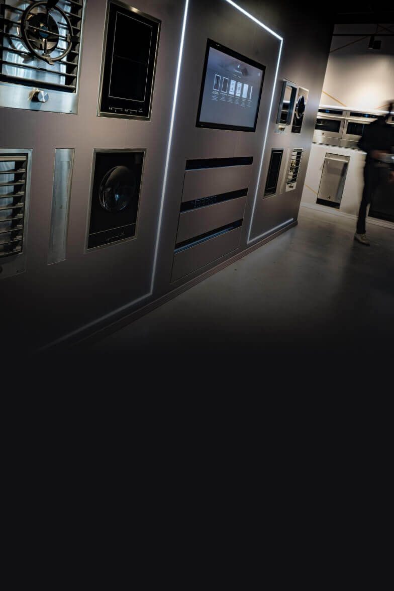 The Cooktops display at a JennAir showroom.