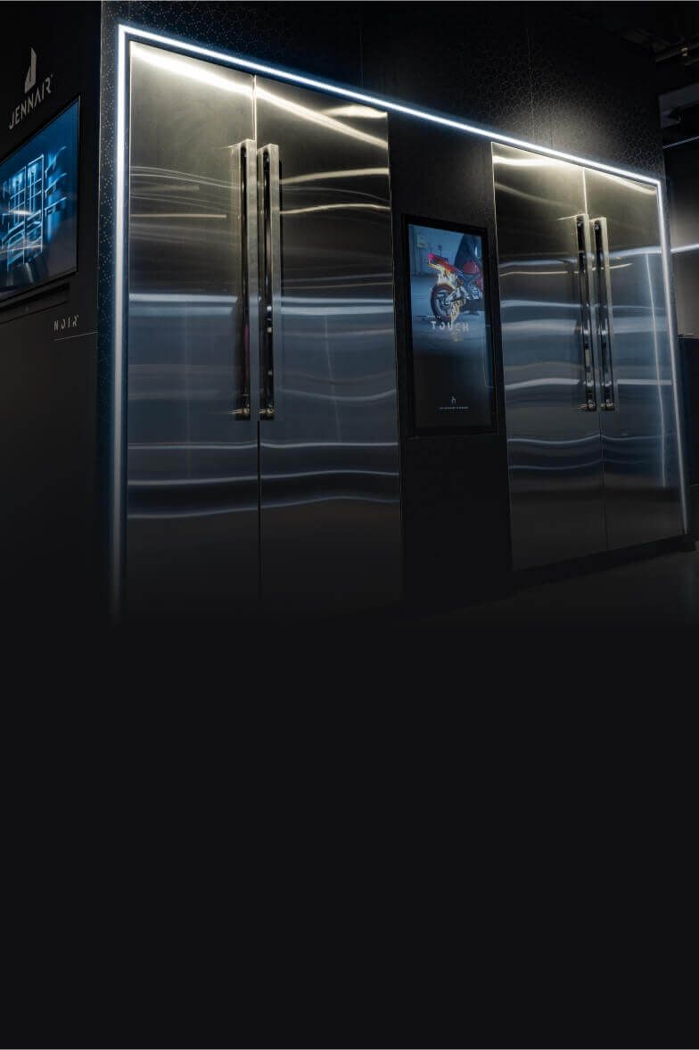 The NOIR™ Design Column Refrigeration display at a JennAir showroom.
