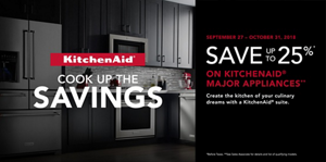 Save up to 25% off of select KitchenAid major appliances