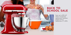 Back to School Sale:Save up to 45% off select countertop appliances* between August 14 - September 5, 2018
