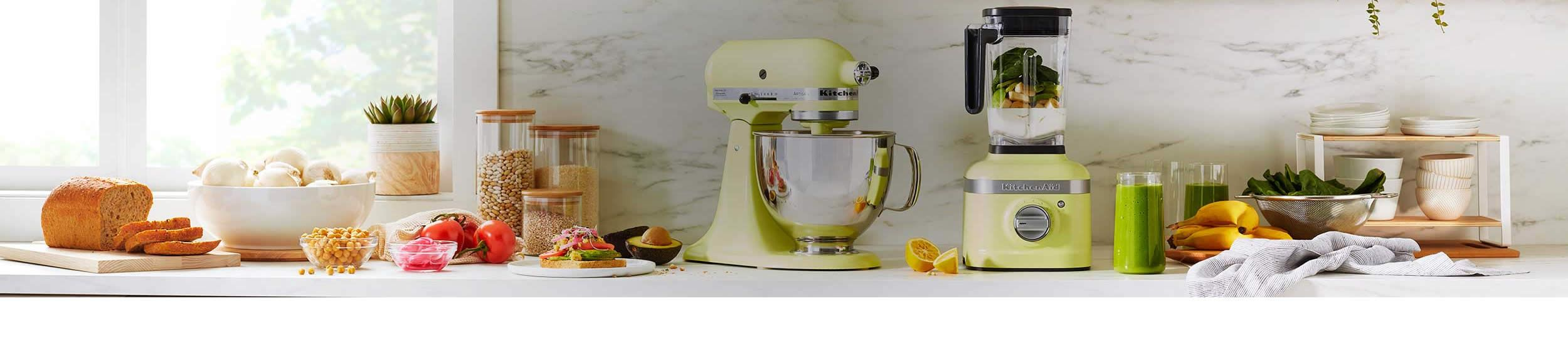 Countertop outfitted with KitchenAid® appliances.