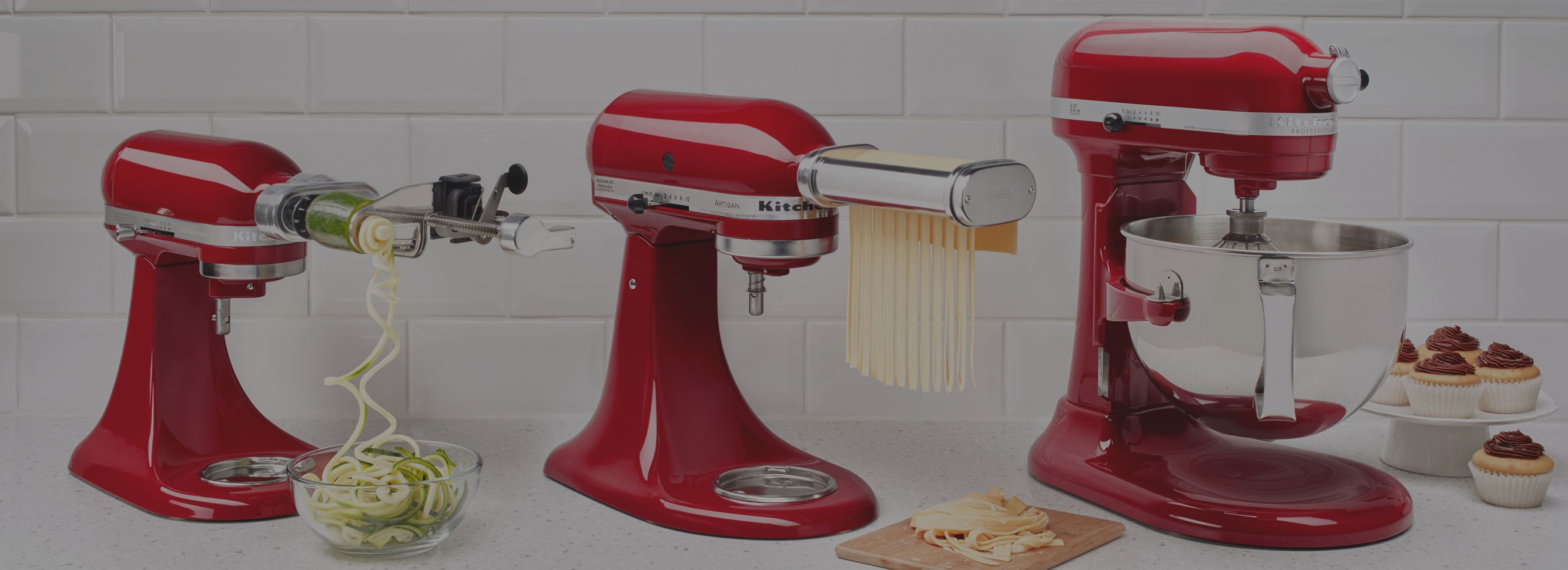 Closeup view of a KitchenAid? stand mixer in action