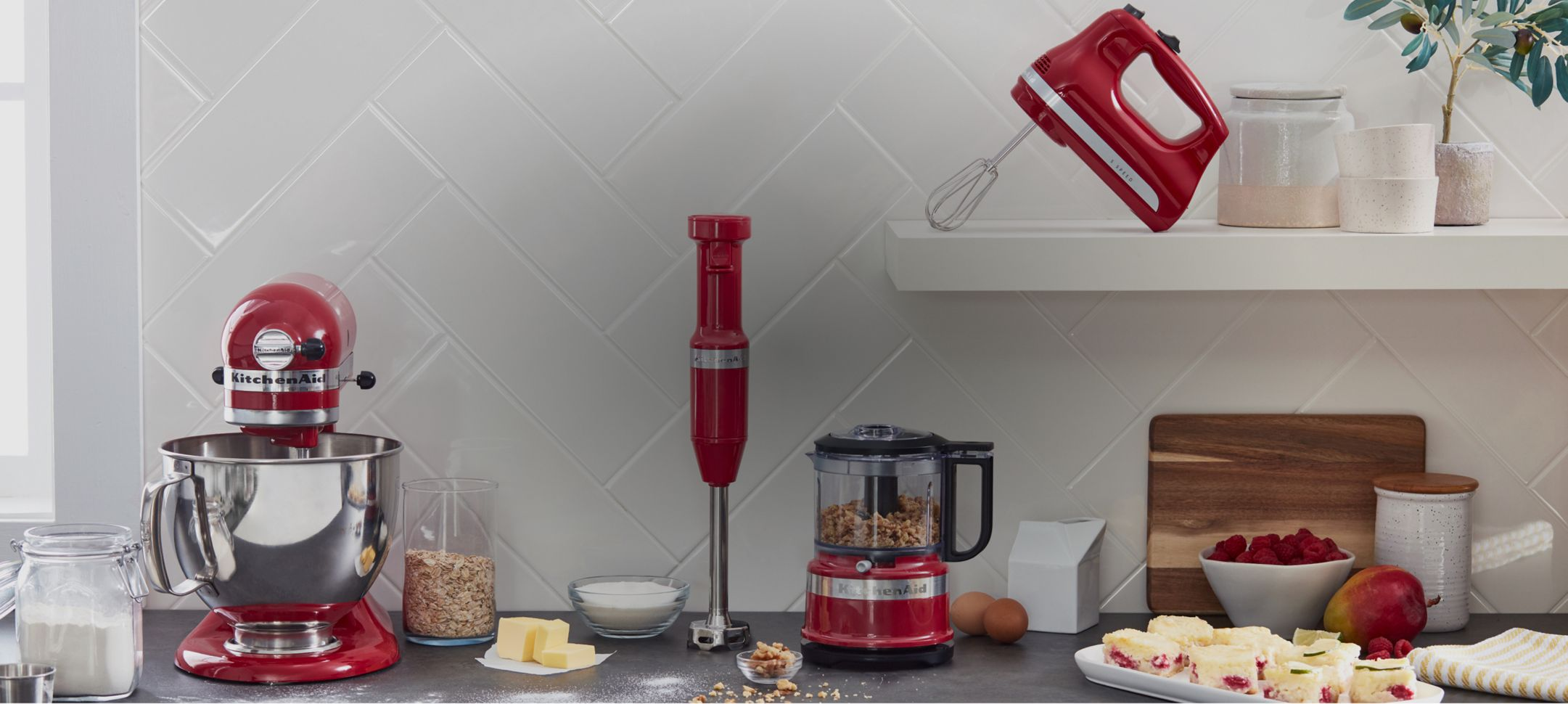 A selection of KitchenAid® countertop appliances.