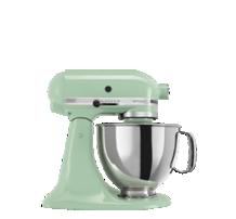 Una batidora KitchenAid color verde menta con un bowl metalico, da click explorar batidoras