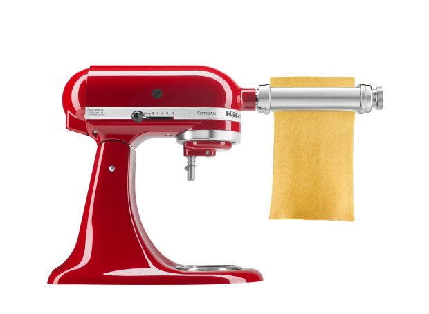 Rolling out pasta with a KitchenAid® Stand Mixer attachment.