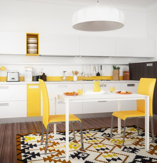 A bright white kitchen with yellow accents and decor.