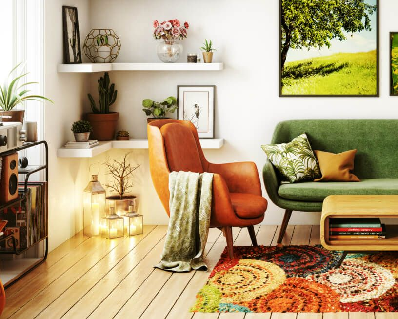 A bright, lively living room filled with plants and greenery.