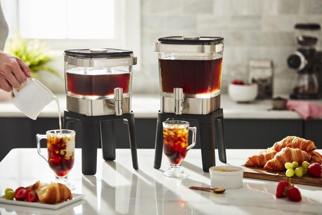 Two KitchenAid® Cold Brew Coffee Makers on a bright white counter.