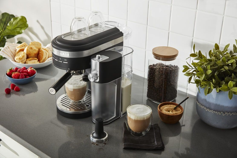 A KitchenAid® Semi-Automatic Espresso Machine with Automatic Milk Frother Attachment on a countertop.