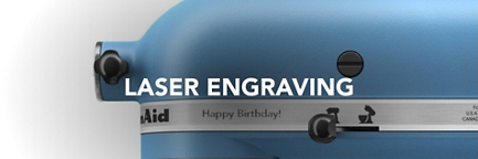 A Stand Mixer with a Happy Birthday engraving.
