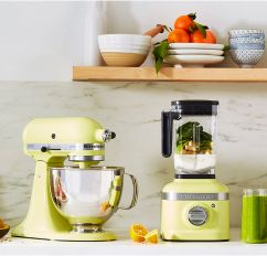 KitchenAid® stand mixer and blender shown in the 2020 color of the year Kyoto Glow.