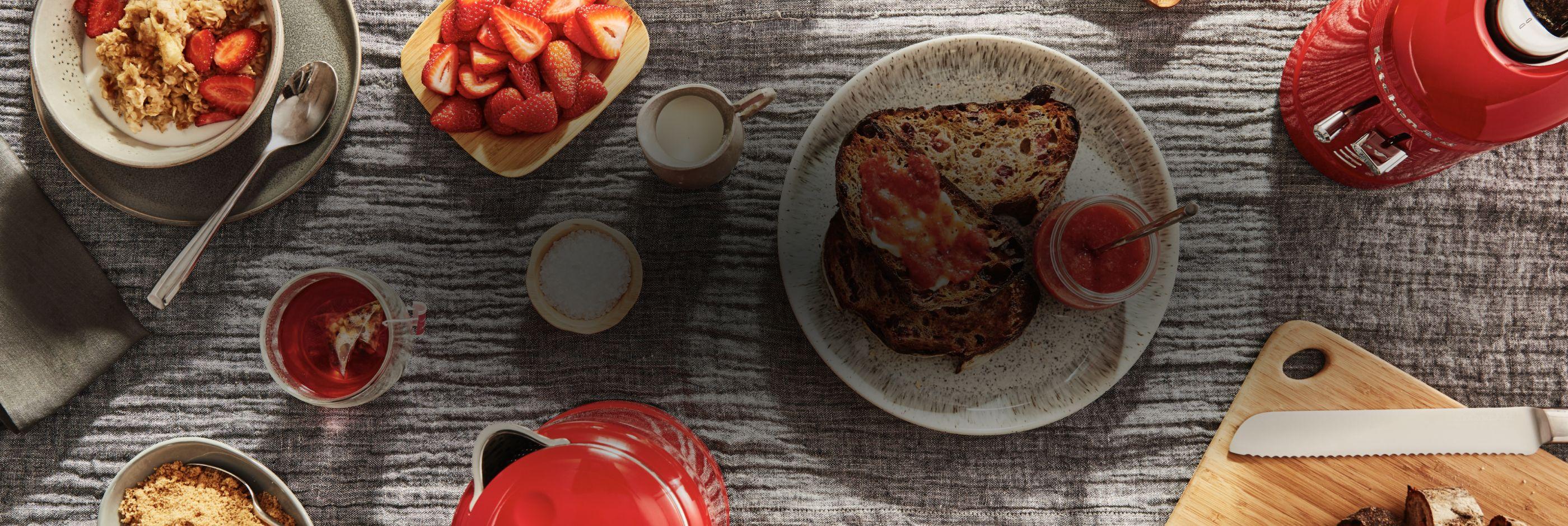 Strawberry muesli and bruschetta.
