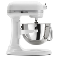 KitchenAid® Tilt-Head Stand Mixer with Stainless Steel Bowl in White.