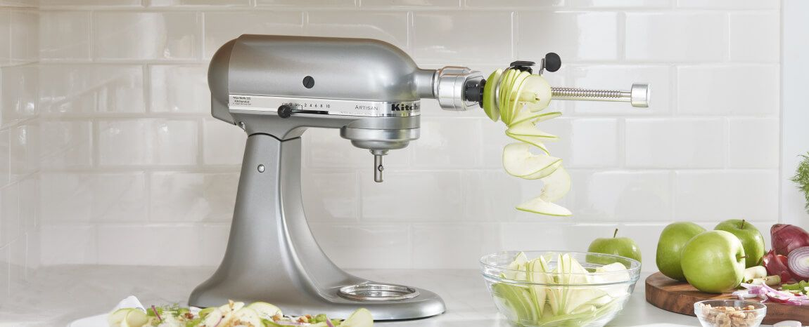 KitchenAid® Stand Mixer with optional attachment.