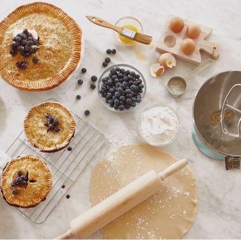 Baking pies.