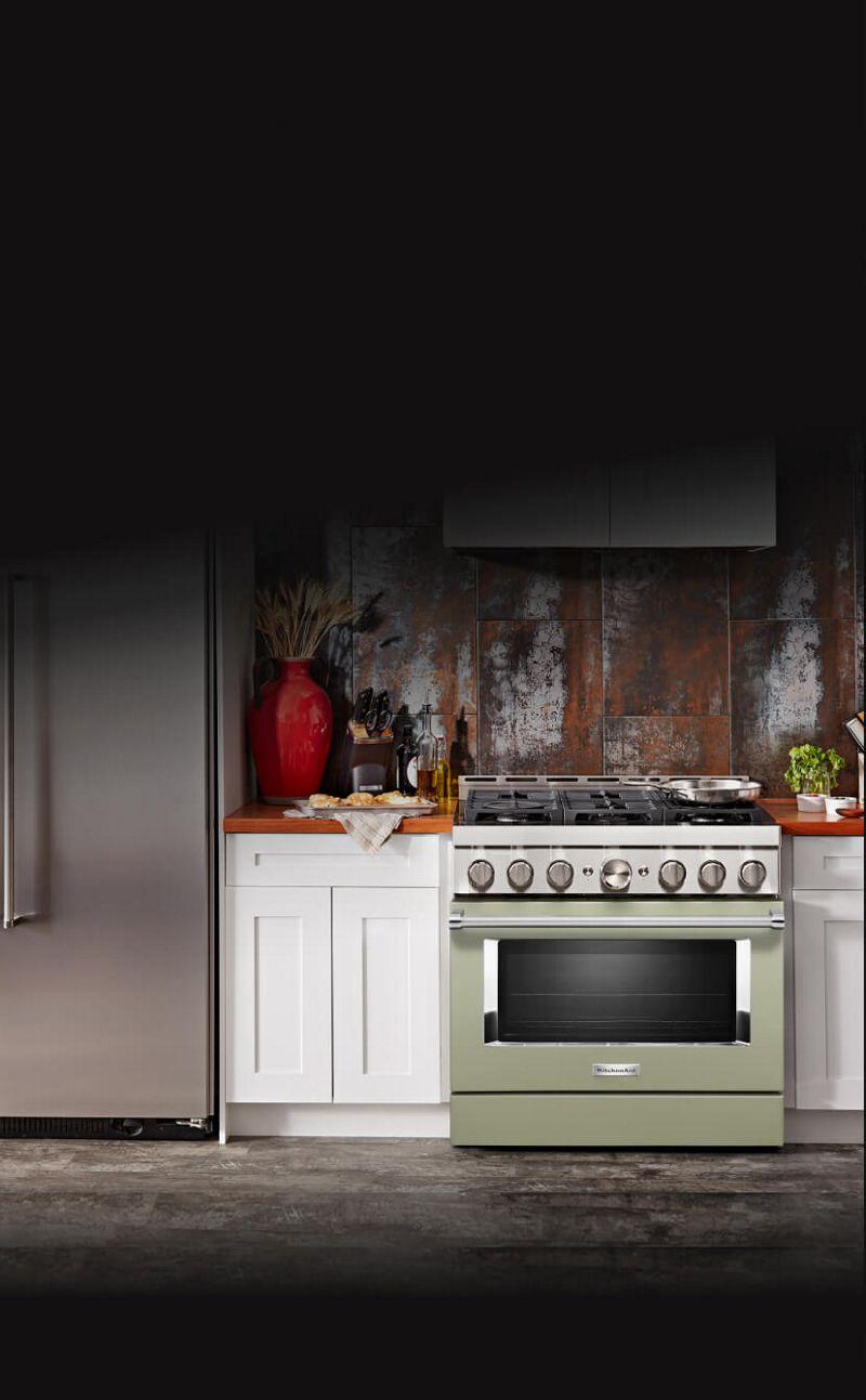 Kitchen with avocado cream range.