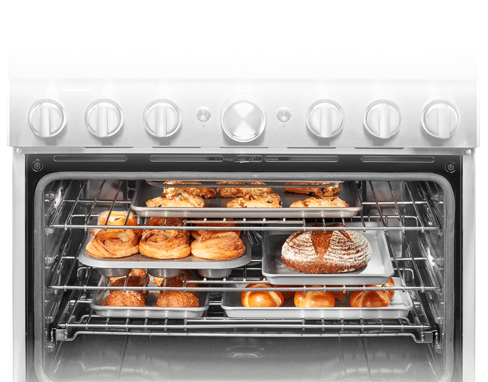 Product shot of stainless steel range.