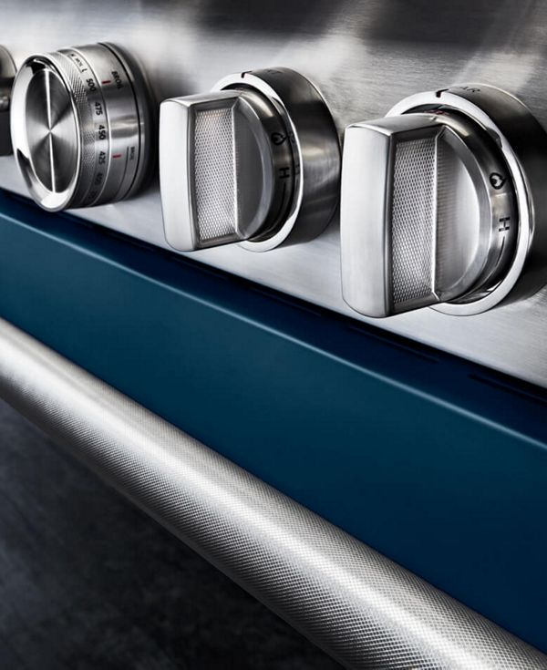 Close-up of ink blue range and handles.