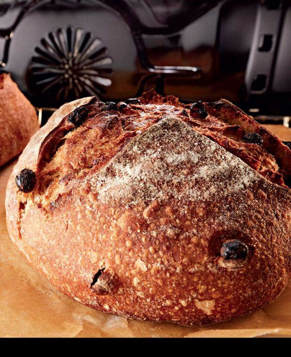 Close-up of a loaf of raisin bread being removed from oven.