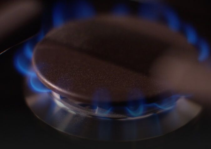 Close-up of a low flame on 5K burner.