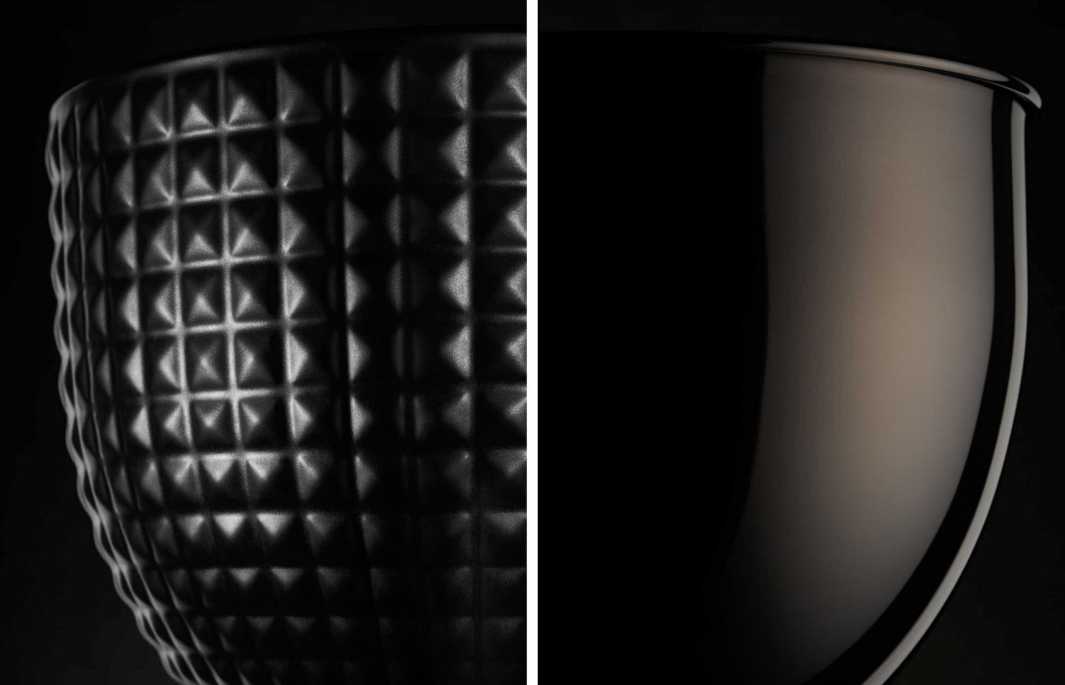 A closeup of both the black ceramic studded bowl and the black stainless steel bowl.