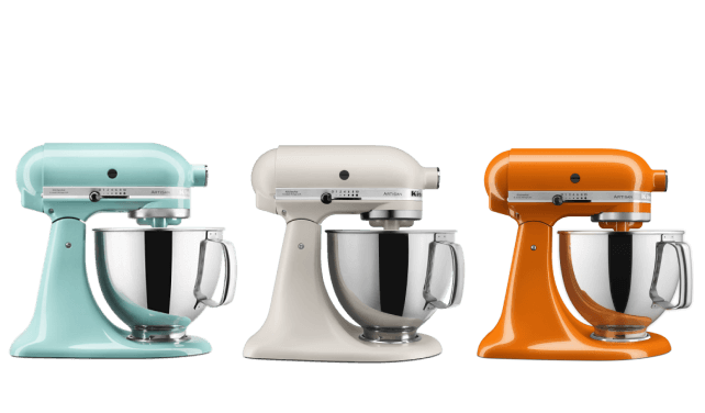 A row of three Artisan® Series 5 Quart Tilt-Head Stand Mixers.