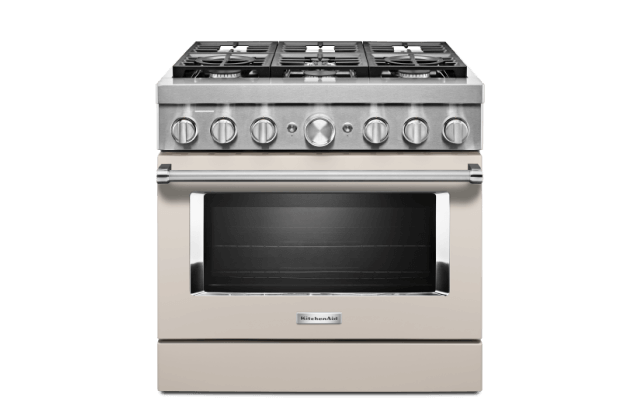 A Smart Commercial-Stle Dual Fuel Range in Avocado Cream.