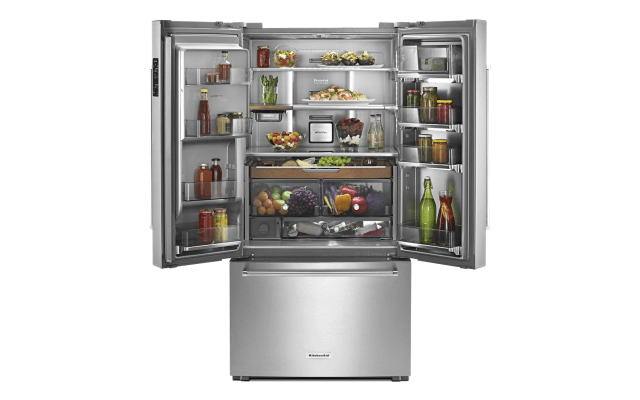 An Open French Door Refrigerator.