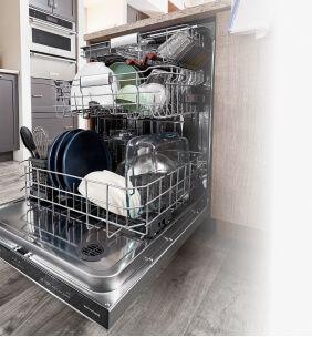 Overhead view of loaded KitchenAid® FreeFlex™ Third Rack Dishwasher