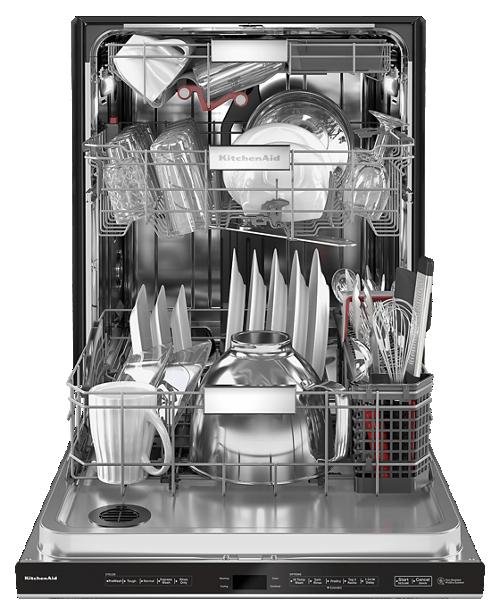 Interior view of loaded KitchenAid® FreeFlex™ Third Rack Dishwasher