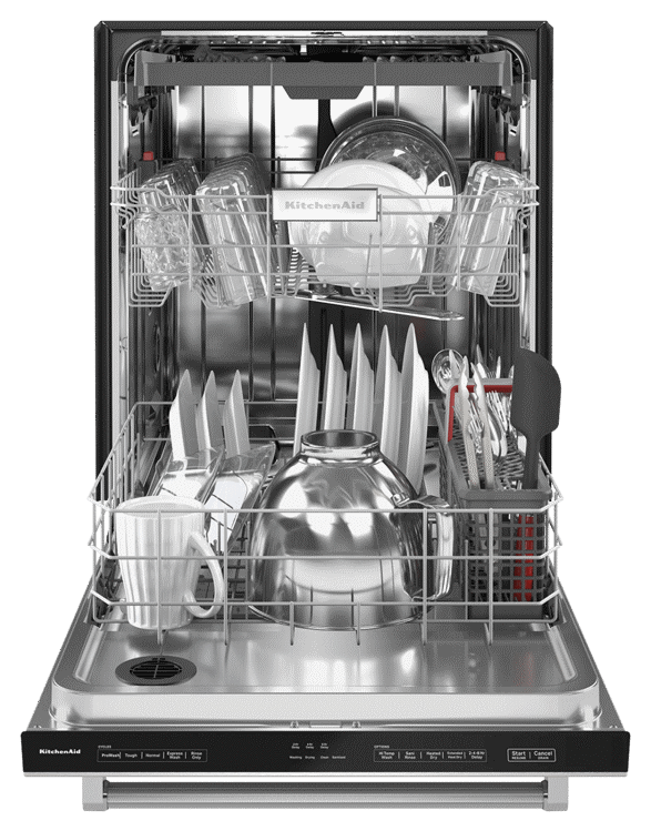 Interior view of loaded KitchenAid® Dishwasher with Third Level Utensil Rack