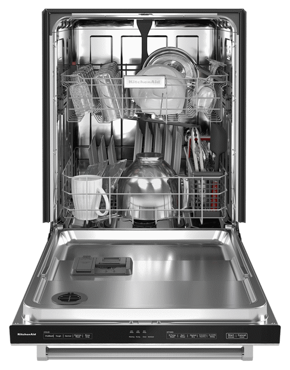 Interior view of loaded two rack dishwasher