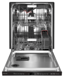 Empty dishwasher with third level utensil rack and stainless interior