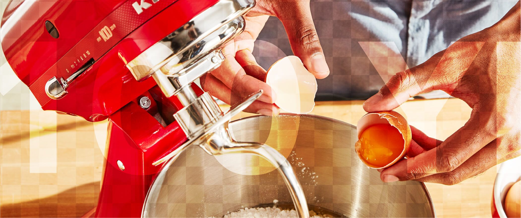 Closeup view of a KitchenAid® stand mixer in action