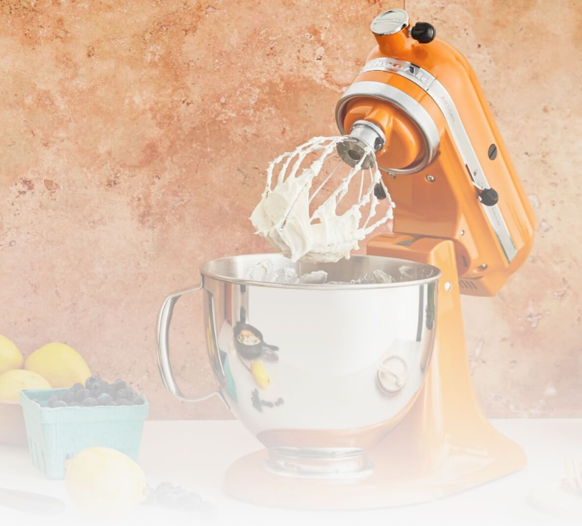 A KitchenAid® Stand Mixer in Honey.