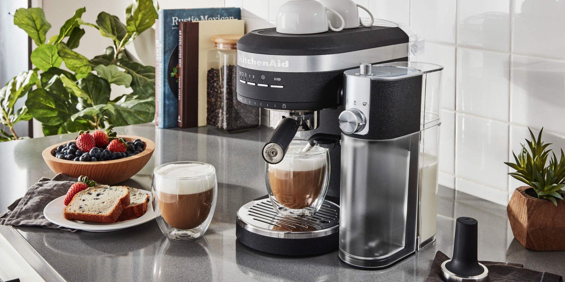A Matte Black Semi-Automatic Espresso Machine and Automatic Milk Frother.