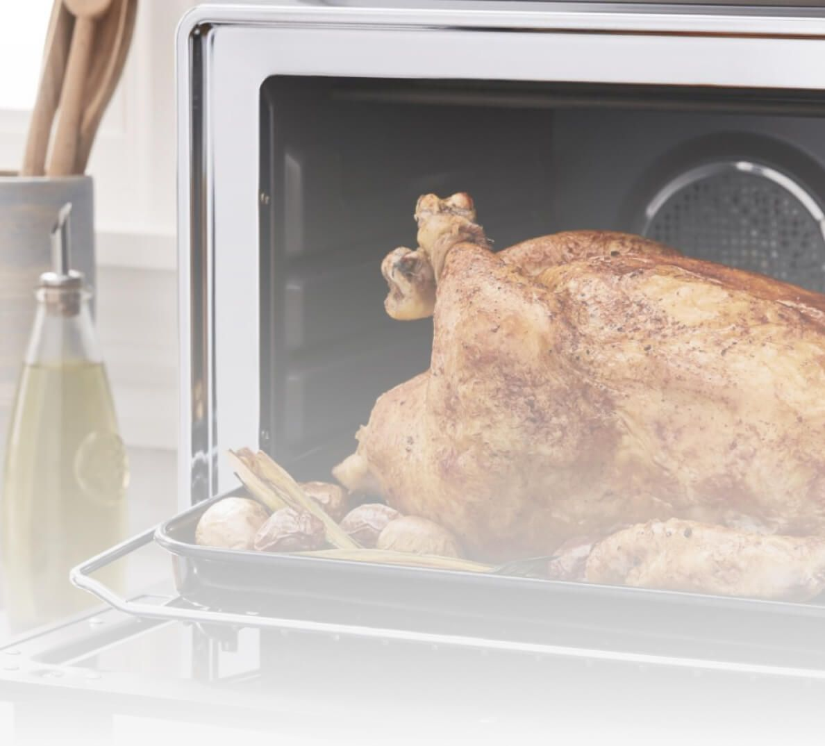 A roasted chicken in an oven.