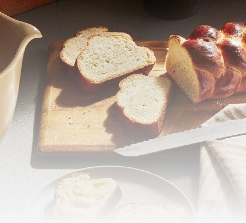 Fresh cut loaves of bread.