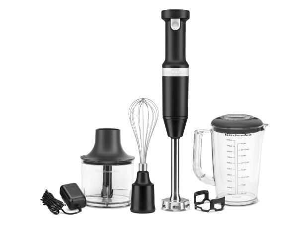 KitchenAid® Cordless Variable Speed Hand Blender with Chopper and Whisk Attachment.